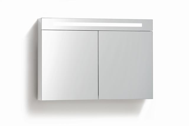 Spiegelkast 90cm met TL Verlichting en stopcontact wit - Badkamerhuis