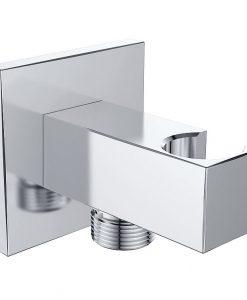 Luxe muur doucheaansluiting met opsteek vierkant 1/2 chroom