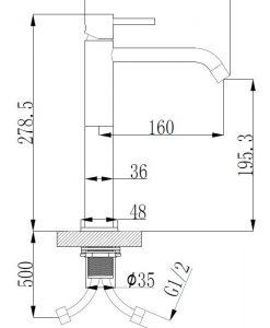Style XL hoge wastafelmengkraan mat-zwart